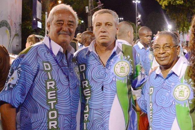 Flavinho Machado com Marcal Branco e o jornalista e conselheiro do Cubango Mario Dias foto Hyrinea Borneo Morre Flavinho Machado, um dos maiores compositores de samba do Brasil