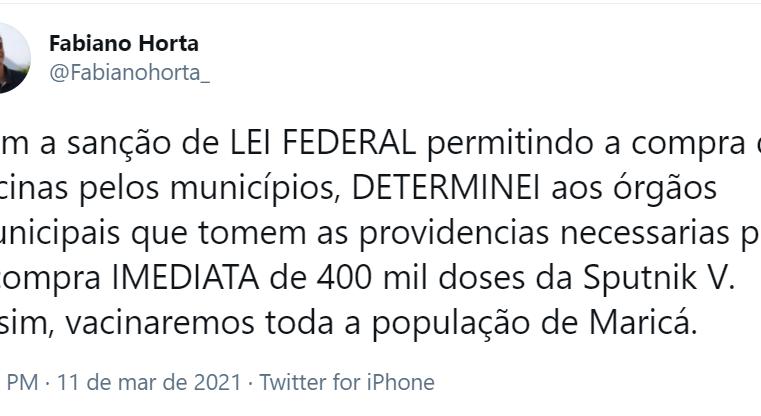 Maricá anuncia compra de 400 mil doses da vacina Sputnik